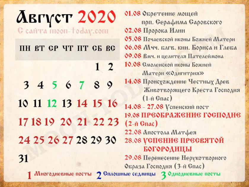 православный календарь на Август 2020