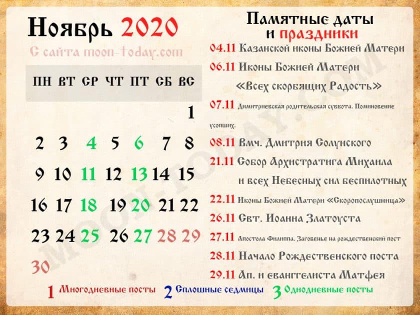 православный календарь на Ноябрь 2020